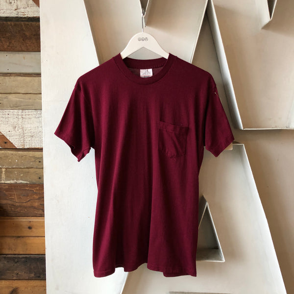 80's Burgundy Pocket Tee - XL