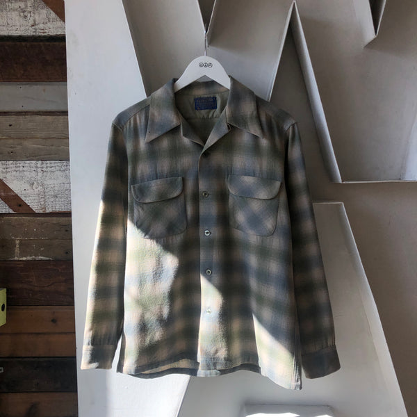 70's Pendleton Shadow Plaid Flannel - Medium