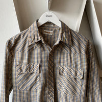 80's Plaid Western Snap Shirt - Medium