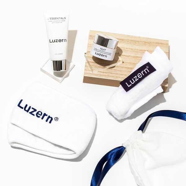 Mini Cleansing Gelee, Mini Hydra Cleansing Emulsion, Headband, and a Bamboo Washcloth. Enclosed in a Luzern Drawstring Bag, our essentials starter kit is the perfect foundation for a spa experience in the comfort of your own home