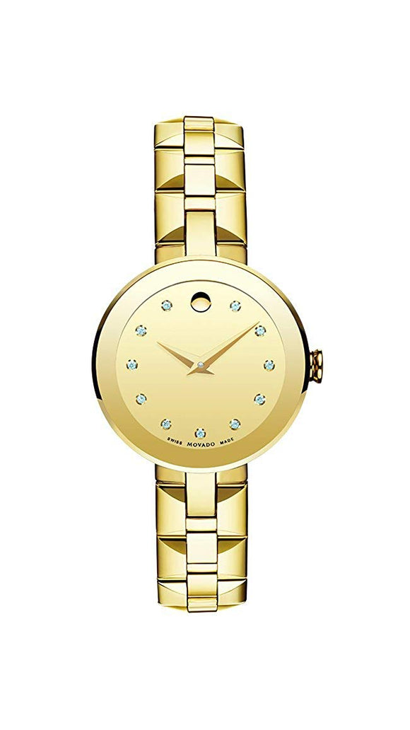 Movado Sapphire Champagne Dial Gold PVD Stainless Steel Ladies Watch