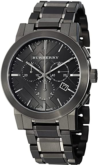 NEW BURBERRY UNISEX THE CITY CHRONOGRAPH GUNMETAL WATCH - BU9354