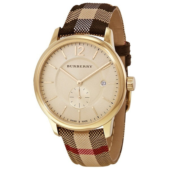Burberry Swiss Watch BU10001 Honey Check Fabric-Coated Leather Unisex Wrist Watch