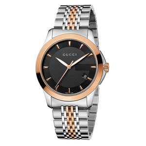 GUCCI G-Timeless 38MM Rose Gold PVD Black Unisex Watch YA126410