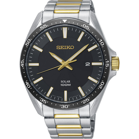 Seiko Mens Solar Powered 2/Tone Bracelet Watch SNE485P1