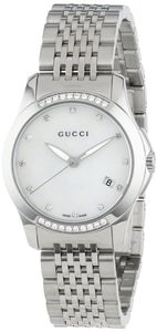 Gucci YA126510 Women's G-Timeless Diamond Mother of Pearl Dial Bracelet Strap Watch, Silver
