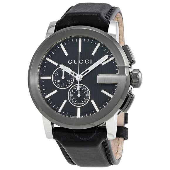 GUCCI G-CHRONO MENS WATCH  BLACK DIAL LEATHER YA101205