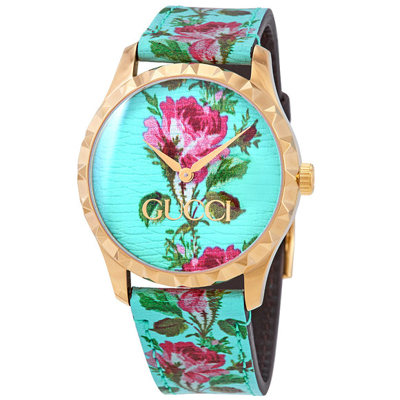 GUCCI G-Timeless 38MM Aqua Floral Print Women's Watch YA1264085