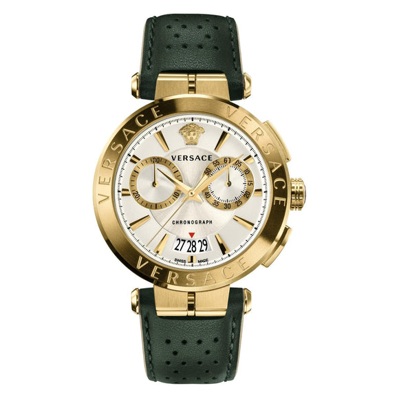 Men's Versace V-Racer Aion Chronograph Green Leather Strap Watch VBR020017
