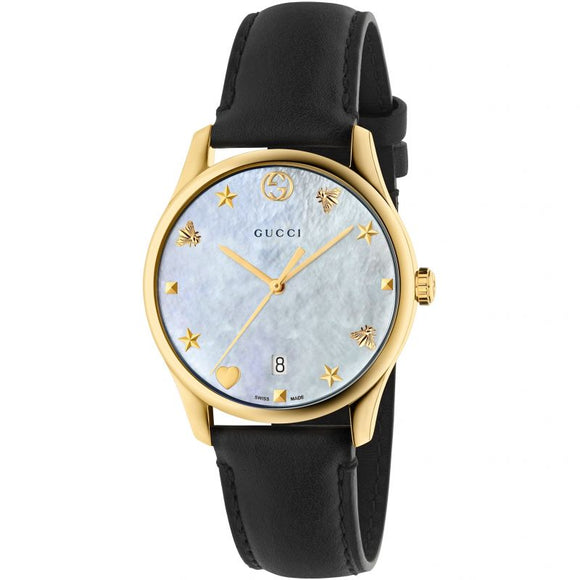 Gucci Women's G-Timeless Date Leather Strap Watch, Black/Mother of  Pearl YA126589