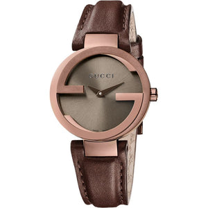 Gucci  Women's Interlocking G Leather Strap Watch, Brown YA133504