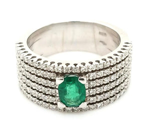 Dynamic 18K Emerald and Diamond Band - Peters Vaults