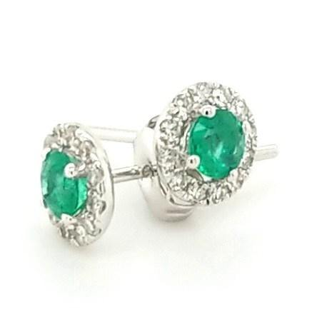 Petite but Powerful Emerald and Diamond Halo Studs in 18K - Peters Vaults