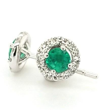 Petite but Powerful Emerald and Diamond Halo Studs in 18K Gold