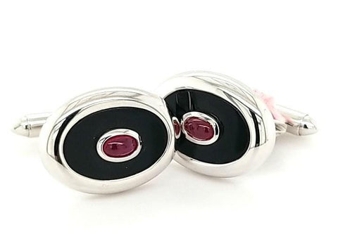 Elegant Ruby and Onyx Men's Cufflinks in 14K Gold - Peters Vaults