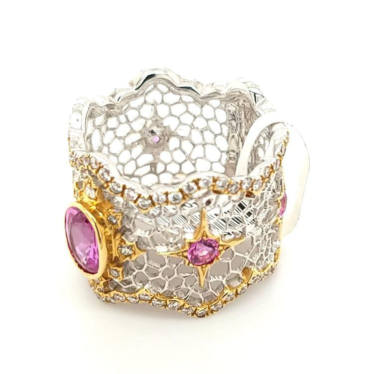 18K Pink Sapphire and Diamond Filigree Band - Peters Vaults
