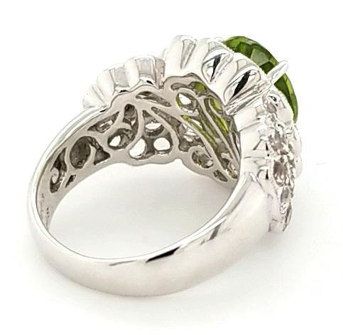 18K Gold Custom Design Peridot Ring with Morganites and Diamonds