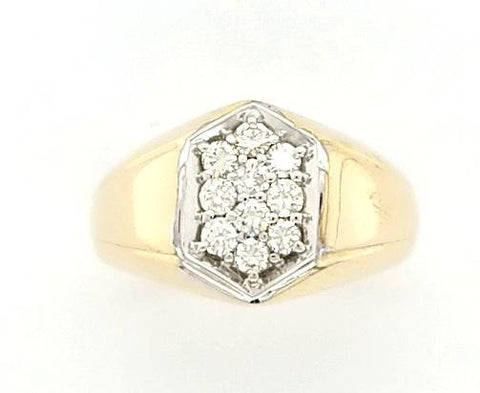 Mens 2-Tone Classic Diamond Cluster Ring in 14K - Peters Vaults