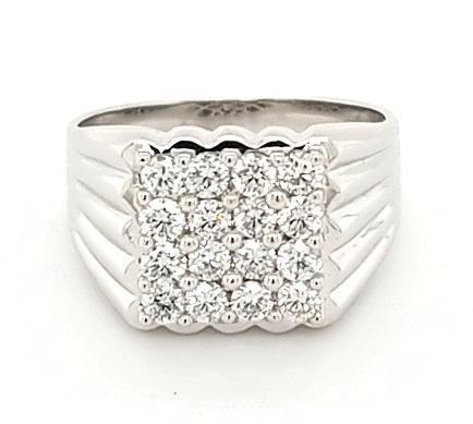 Mens Modern Cluster Ring with Outstanding Diamonds in 18K Gold - Peters Vaults