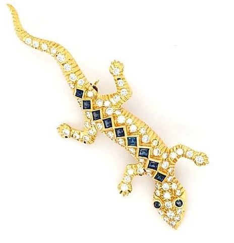 Sleek and Sexy Diamond and Sapphire Gecko in 18K - Peters Vaults