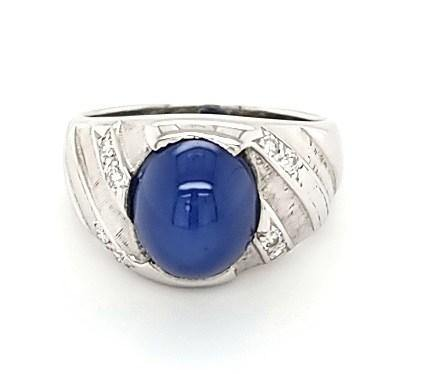 14K Star Sapphire and Diamond Vintage Mens Ring - Peters vaults