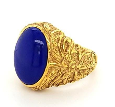 18K Baroque Vintage Mens Ring with Lapiz Lazuli - Peters Vaults