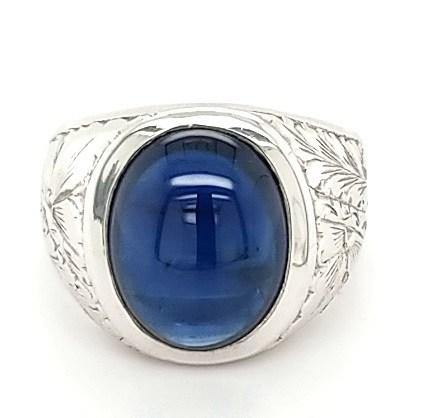 Ultra Rare Hand Engraved Platinum Sapphire Vintage Mens Ring - Peters Vaults
