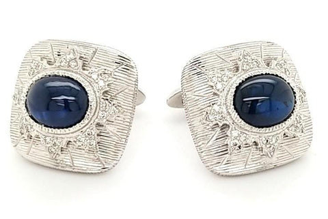 Opulent Sapphire and Diamond Vintage Cufflinks in 18KW Gold - Peters Vaults
