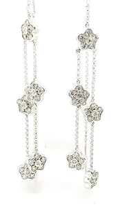 Graceful Diamond Flower Threader Earrings in 14K Gold - Peters Vaults