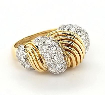 Opulent Diamond Vintage Cocktail Ring in 18K Gold - Peters Vaults