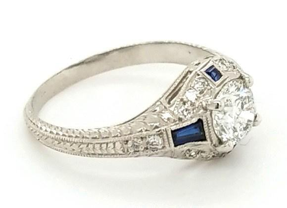 Hand Engraved Vintage Diamond and Sapphire Engagement Ring in Platinum - Peters Vaults