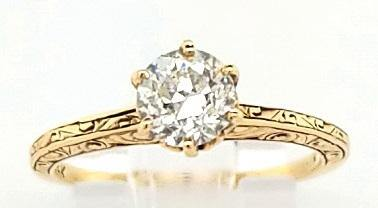 Hand Engraved Vintage Solitaire Diamond Engagement Ring in 14K Gold - Peters Vaults
