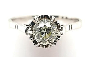 Vintage Solitaire Diamond Engagement Ring in 18KW Gold - with Hidden Sapphires - Peters Vaults