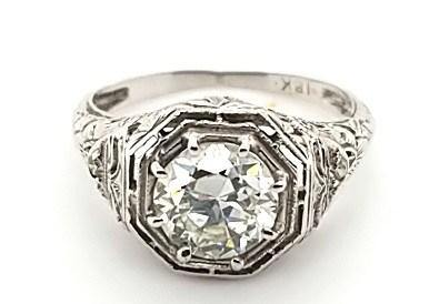 Antique Diamond Solitaire Engagement Ring in 18KW Gold - Peters Vaults