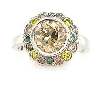 Platinum One of a Kind Engagement Ring with All Colored Diamonds - Peters Vaults