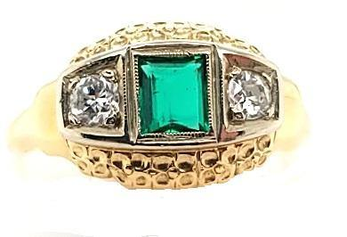 Antique Diamond and Emerald 3-Stone Engagement Ring in 14K Gold - Peters Vaults