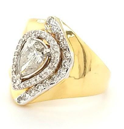 Modern Cigar Band with 1ct Pear Shape Diamond in 18K Gold- Peters Vaults