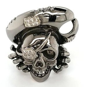 Custom Design Diamond Dead Pirate Ring in 18K Black Gold - Peters Vaults