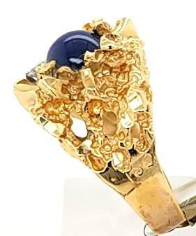 Vintage Mens Star Sapphire and Diamond Ring in 14K Gold - Peters Vaults