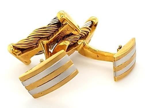 Substantial Platinum and 18K Gold Woven Cufflinks - Peters Vaults