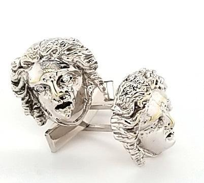Medusa Motif Diamond Cufflinks in 14K Gold - Peters Vaults
