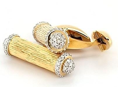 Vintage Diamond Fluted Baton Cufflinks in 18K Gold - Peters Vaults