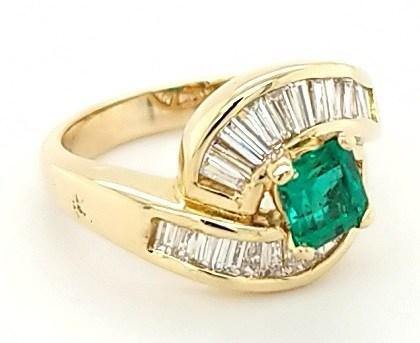 Step-Cut Square Emerald and Diamond Ring in 14K Gold - Peters Vaults