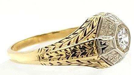 Hand Engraved Antique Victorian Engagement Ring in 18K Gold - Peters Vaults