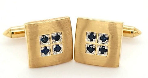 Elegant Sapphire Cufflinks in 14K Gold - Peters Vaults