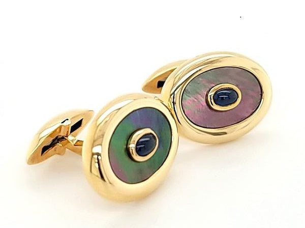 Elegant Black Mother of Pearl and Sapphire Cufflinks in 14K Gold - Peters Vaults