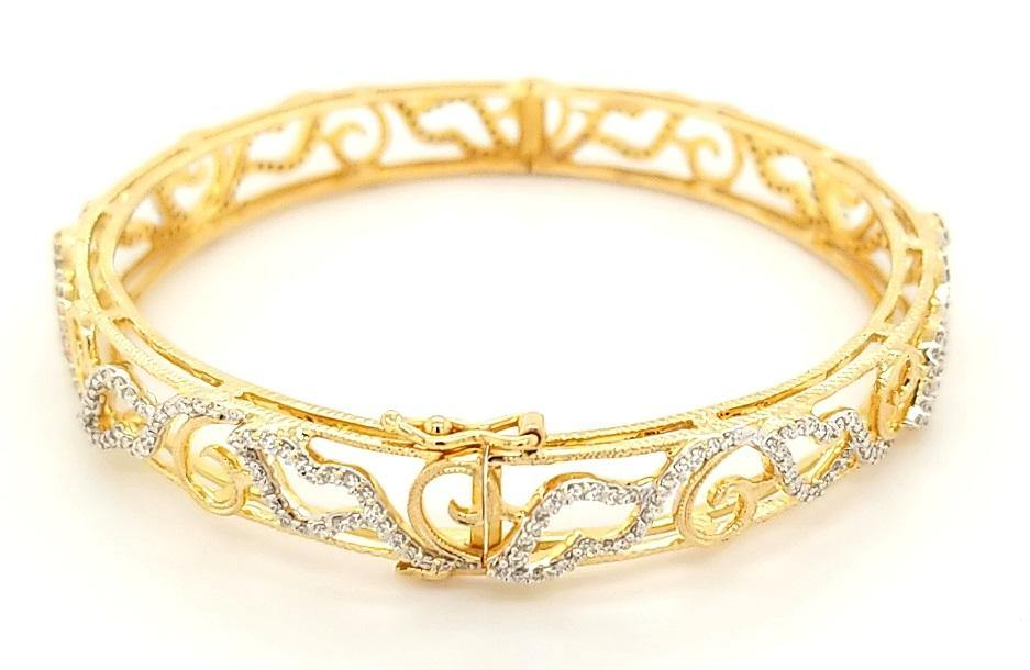 Handcrafted Diamond Bangle Bracelet in 18K Gold - Peters Vaults