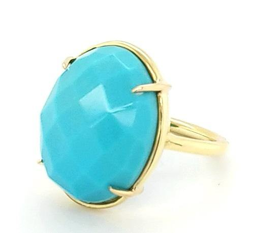 Fashionable Ring with Faceted Oval Turquoise in 18K - Peters Vaults