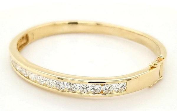 Super Solid 4 Carat Diamond Bangle in 14K Gold - Peters Vaults