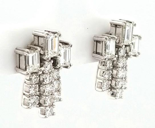 Astonishing Mid Century Diamond Cocktail Earrings in 18K Gold - Peters Vaults